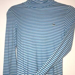 Lacoste Blue Striped Turtleneck Long Sleeve